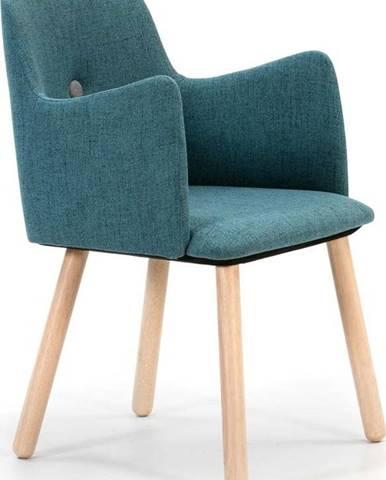 Tyrkysová jídelní židle s nohami ze dřeva kaučukovníku Marckeric Aruba