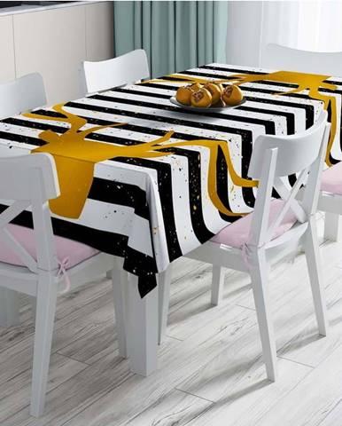Ubrus s příměsí bavlny Minimalist Cushion Covers Striped Reindeer,140x180cm