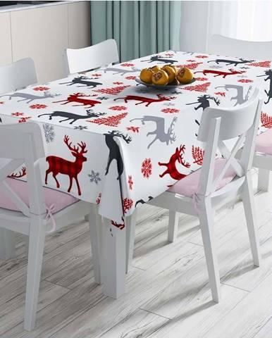 Vánoční ubrus s příměsí bavlny Minimalist Cushion Covers Santas Reindeer,140x180cm
