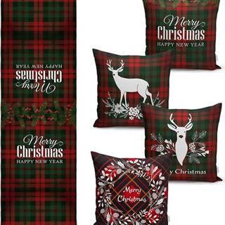 Sada 4 vánočních povlaků na polštář a běhounu na stůl Minimalist Cushion Covers Tartan Christmas