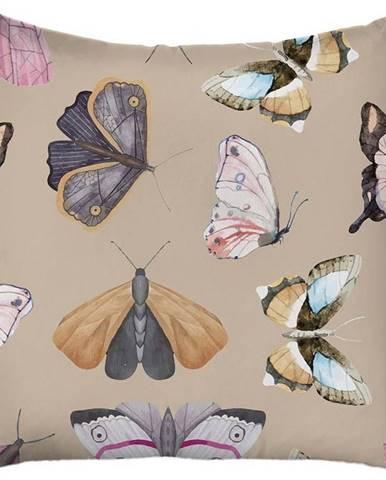 Béžový povlak na polštář Mike & Co. NEW YORK Butterflies,43x43 cm