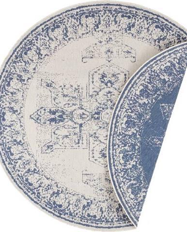 Modro-krémový venkovní koberec Bougari Borbon, ø 140 cm