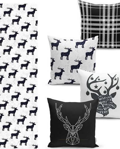 Sada 4 vánočních povlaků na polštář a běhounu na stůl Minimalist Cushion Covers Reindeer and Stars