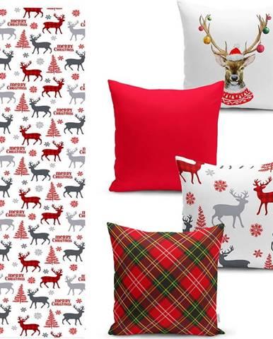 Sada 4 vánočních povlaků na polštář a běhounu na stůl Minimalist Cushion Covers Christmas Ornaments