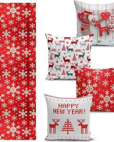 Sada 4 vánočních povlaků na polštář a běhounu na stůl Minimalist Cushion Covers Happy Holiday