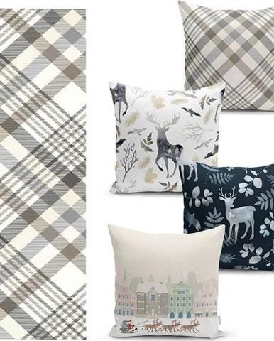 Sada 4 vánočních povlaků na polštář a běhounu na stůl Minimalist Cushion Covers Holiday Season