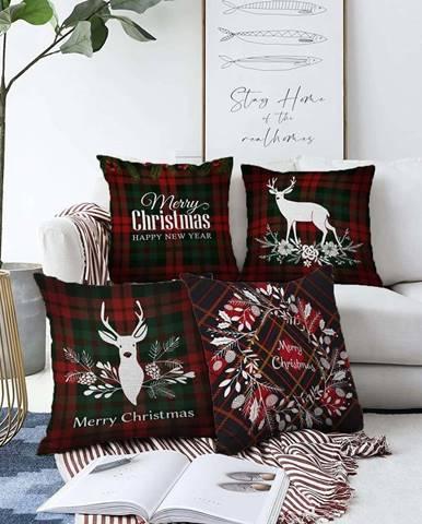 Sada 4 vánočních žinylkových povlaků na polštář Minimalist Cushion Covers Tartan Merry Christmas,55x55cm