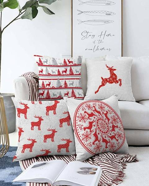 Minimalist Cushion Covers Sada 4 vánočních žinylkových povlaků na polštář Minimalist Cushion Covers Reindeer,55x55cm