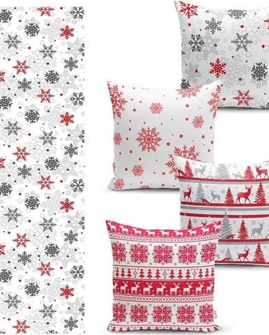 Sada 4 vánočních povlaků na polštář a běhounu na stůl Minimalist Cushion Covers Red Christmas