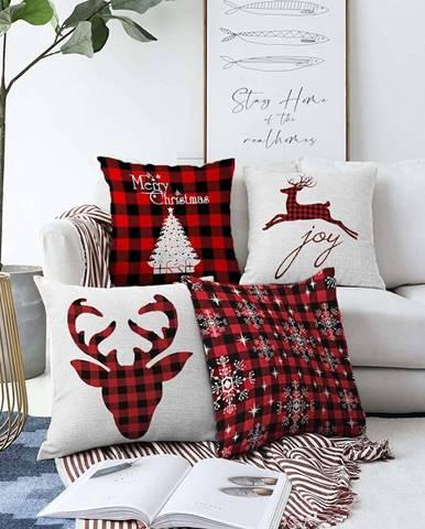Sada 4 vánočních žinylkových povlaků na polštář Minimalist Cushion Covers Xmas Tartan,55x55cm