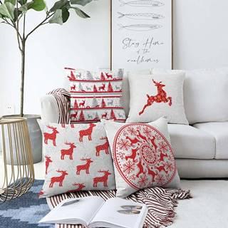 Sada 4 vánočních žinylkových povlaků na polštář Minimalist Cushion Covers Reindeer,55x55cm
