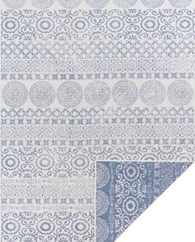 Modro-bílý venkovní koberec Ragami Circle, 120 x 170 cm