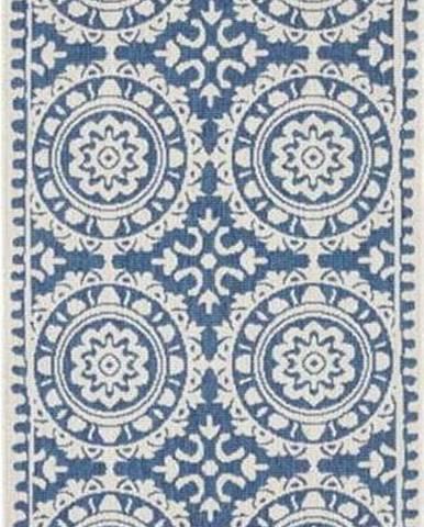 Modro-krémový venkovní koberec Bougari Jardin, 80 x 250 cm