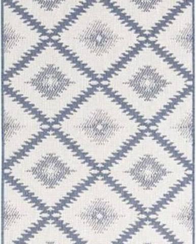 Modro-krémový venkovní koberec Bougari Malibu, 80 x 250 cm