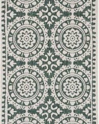 Zeleno-krémový venkovní koberec Bougari Jardin, 80 x 250 cm
