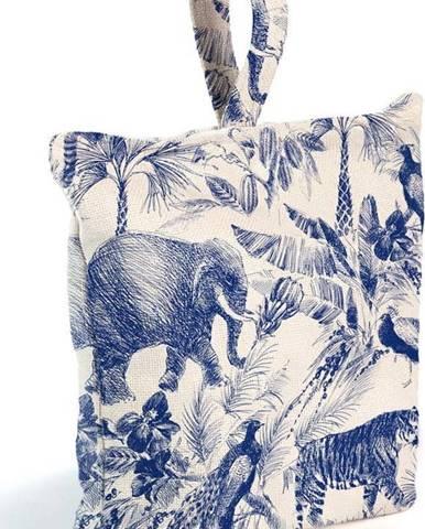 Modro-bílá látková zarážka do dveř Surdic Safari