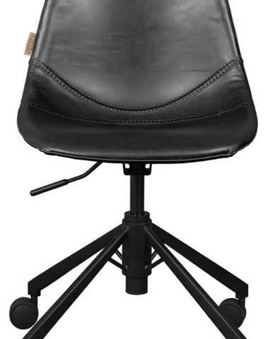 Černá kancelářská židle na kolečkách Dutchbone Franky