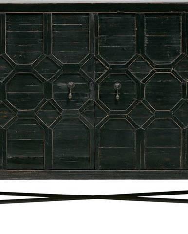 Černá komoda z borovicového dřeva BePureHome