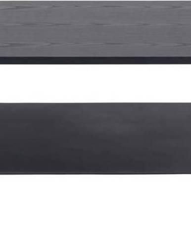 Černý konferenční stolek s deskou v dekoru jasanového dřeva Actona Angus