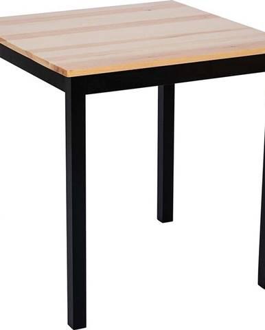 Jídelní stůl z borovicového dřeva s černou konstrukcí loomi.design Sydney, 70 x 70 cm