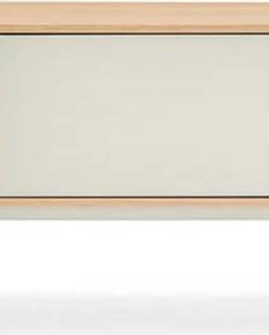 Krémově bílá TV komoda v dubovém dekoru Teulat Yoko