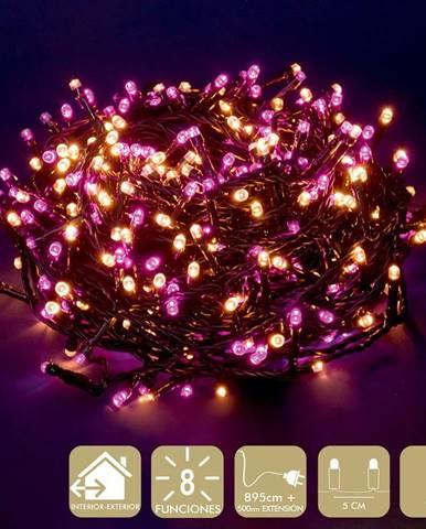 Růžovo-béžový světelný LED řetěz Unimasa, 180 světýlek