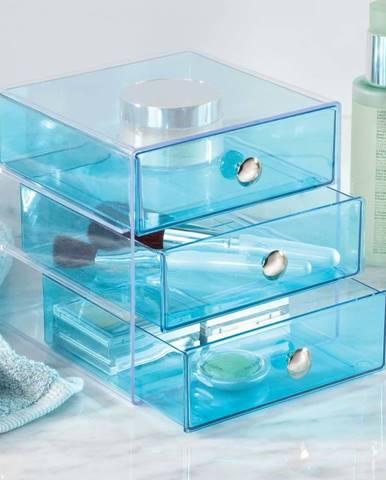 Modrý 3patrový organizér se šuplíky iDesign, 16,5x16,5cm