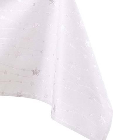 Vánoční ubrus v bílo-stříbrné barvě AmeliaHome Stardust, 220 x 140 cm