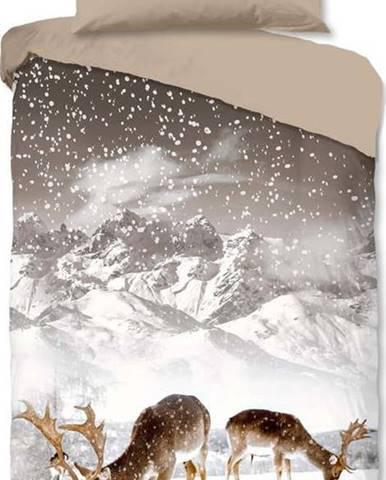 Hnědo-béžové flanelové povlečení Good Morning Winter,140x200cm