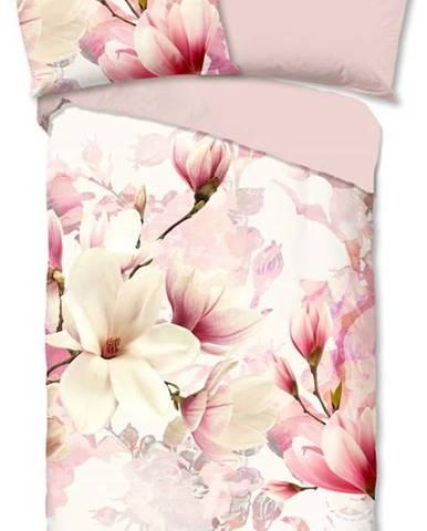 Růžovo-bílé flanelové povlečení Good Morning Christel,140x200cm