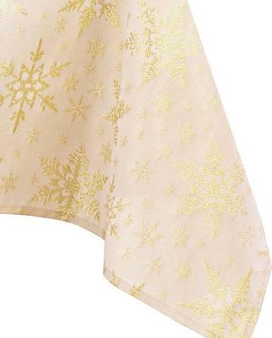 Vánoční ubrus ve zlaté barvě AmeliaHome White Christmas, 140 x 200 cm