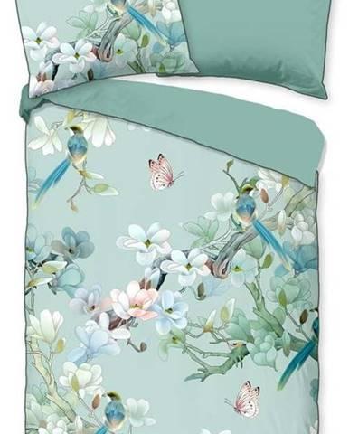 Zelené povlečení na dvoulůžko z organické bavlny Descanso Flowery,200x220cm