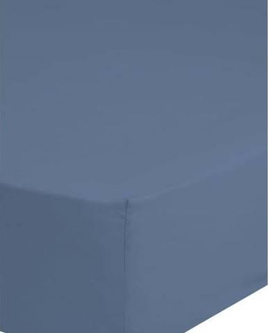 Modré elastické prostěradlo z bavlněného saténu HIP,180x200cm