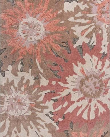 Hnědo-růžový koberec Flair Rugs Soft Floral, 120 x 170 cm