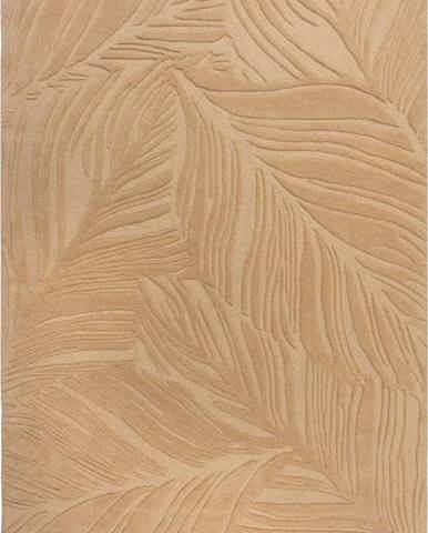 Světle hnědý vlněný koberec Flair Rugs Lino Leaf, 120 x 170 cm
