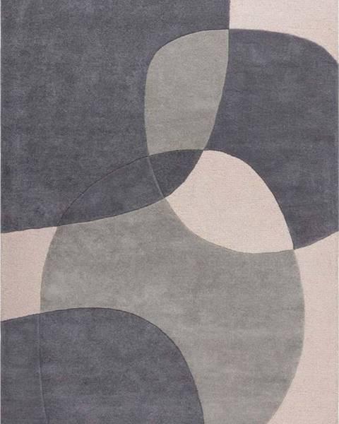 Flair Rugs Šedý vlněný koberec Flair Rugs Glow, 160 x 230 cm