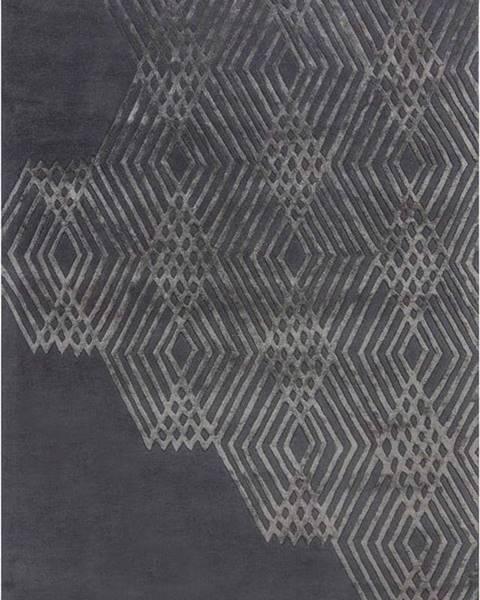 Flair Rugs Tmavě šedý vlněný koberec Flair Rugs Diamonds, 160 x 230 cm