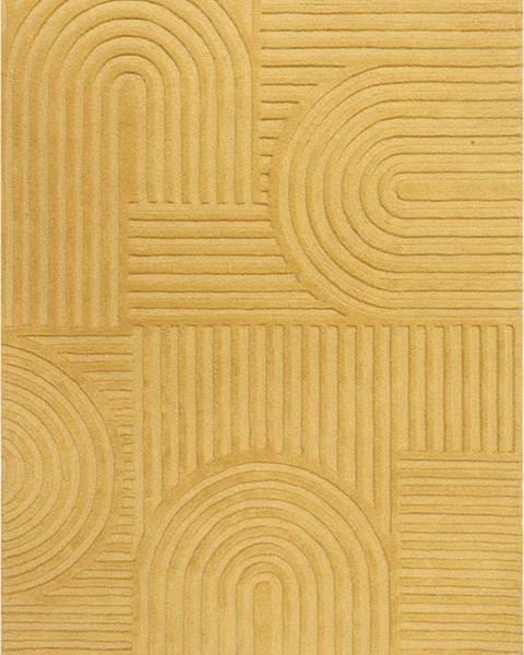 Flair Rugs Žlutý vlněný koberec Flair Rugs Zen Garden, 160 x 230 cm
