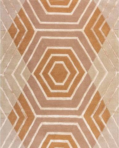 Béžový vlněný koberec Flair Rugs Harlow, 120 x 170 cm