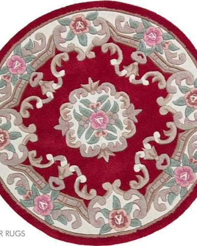 Červený vlněný koberec Flair Rugs Aubusson, ⌀ 120 cm