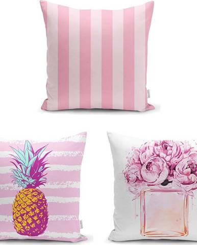 Sada 3 povlaků na polštáře Minimalist Cushion Covers Pink Striped, 45 x 45 cm