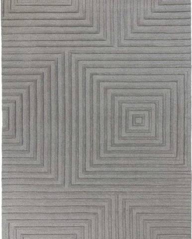 Šedý vlněný koberec Flair Rugs Estela, 160 x 230 cm