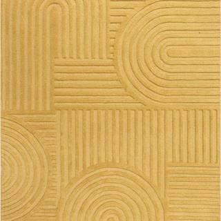 Žlutý vlněný koberec Flair Rugs Zen Garden, 160 x 230 cm