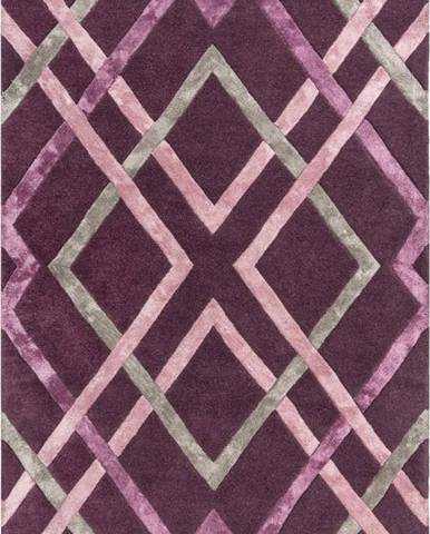 Fialový viskózový koberec Flair Rugs Trellis, 160 x 230 cm