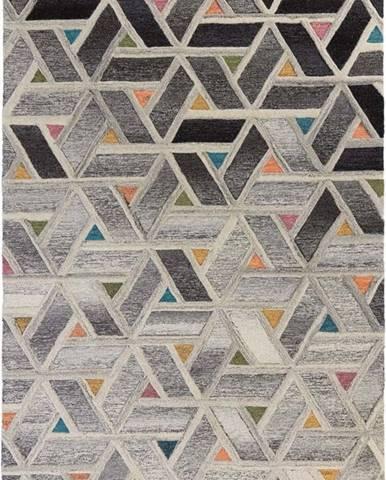 Šedý vlněný koberec Flair Rugs River, 160 x 230 cm