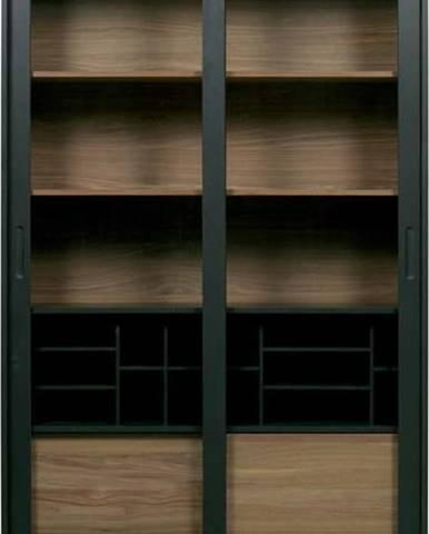 Černá knihovna z masivního borovicového a dubového dřeva WOOOD James