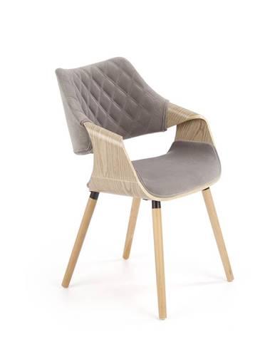 Jídelní židle K-396, šedá/dub světlý