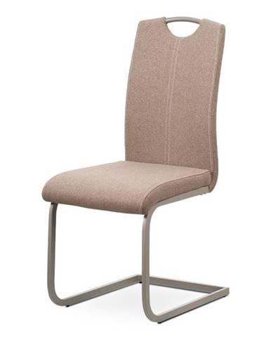 Jídelní židle - krémová látka, kovová podnož, lanýžový matný lak DCL-612 CRM2