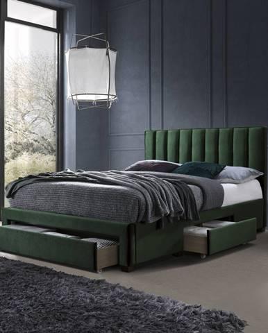 Postel GRACE 160x200 cm, tmavě zelená