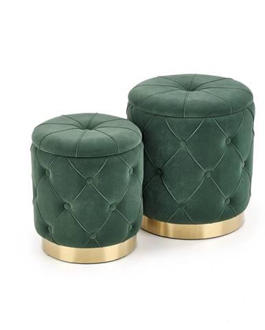 Set dvou taburetů POLLY, tmavě zelená
